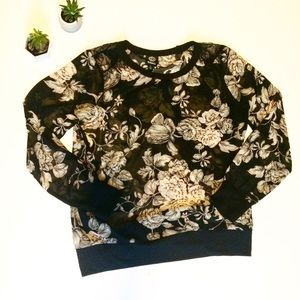 Bobeau Large Floral Black Sheer Lace Blouse